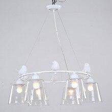 Modern Light Pendant Lamp E27 220V For Decor Dining Room Living Room Suspension Fixtures Glass Lampshade Resin Bird White Iron