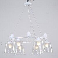 Modern Glass Lampshade Light Pendant Lighting Dining Room Living Room Suspension Lamp Resin Bird White Iron