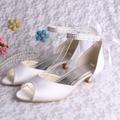 Wedopus Lace-up lady Moda Sandálias Salto Baixo Marfim Cetim Nupcial Do Casamento Sapatos Tamanho Grande 10