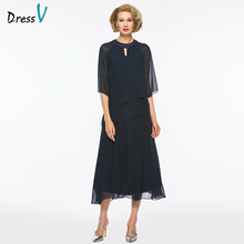 Dressv A-line Mother Of The Bride Dress Half Sleeves Jewel Neck Beading Tea Length Simple Mother of The Bride Dress Custom