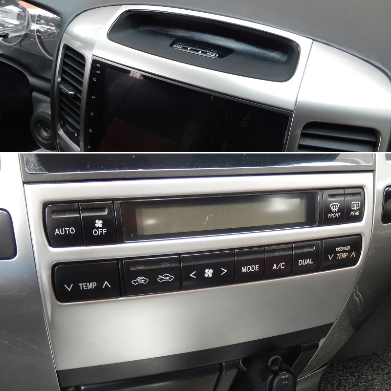 Stainless Steel Interior Front Dashboard Air AC Control Panel Decorative Cover Trim For Toyota Land Cruiser Prado J120 2003-2009
