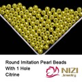 Citrino Cor resina Rodada Beads Com Furo 6mm 8mm 10mm Imitação Artesanato Apliques de Pérolas Para O Casamento Tecido vestidos e Acessórios