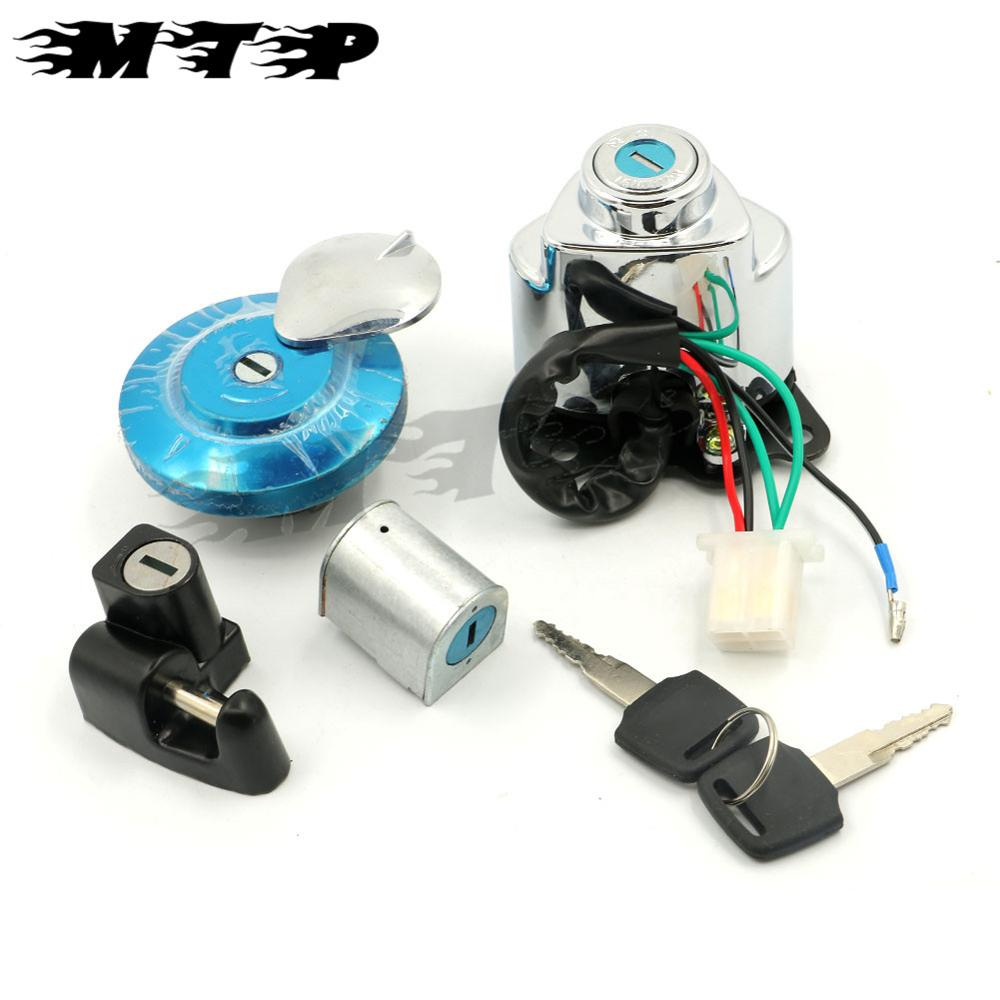 5 Wires Ignition Switch Gas Cap Helmet Steering Lock Key For