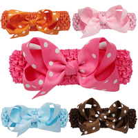 5 Pcs Lot Newborn Baby Girl Headbands Infant Dot Flowers Cute Soft Elastic Headband Fashion Hairband