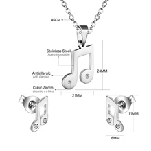 Musical Note Stainless Steel Jewelry Set