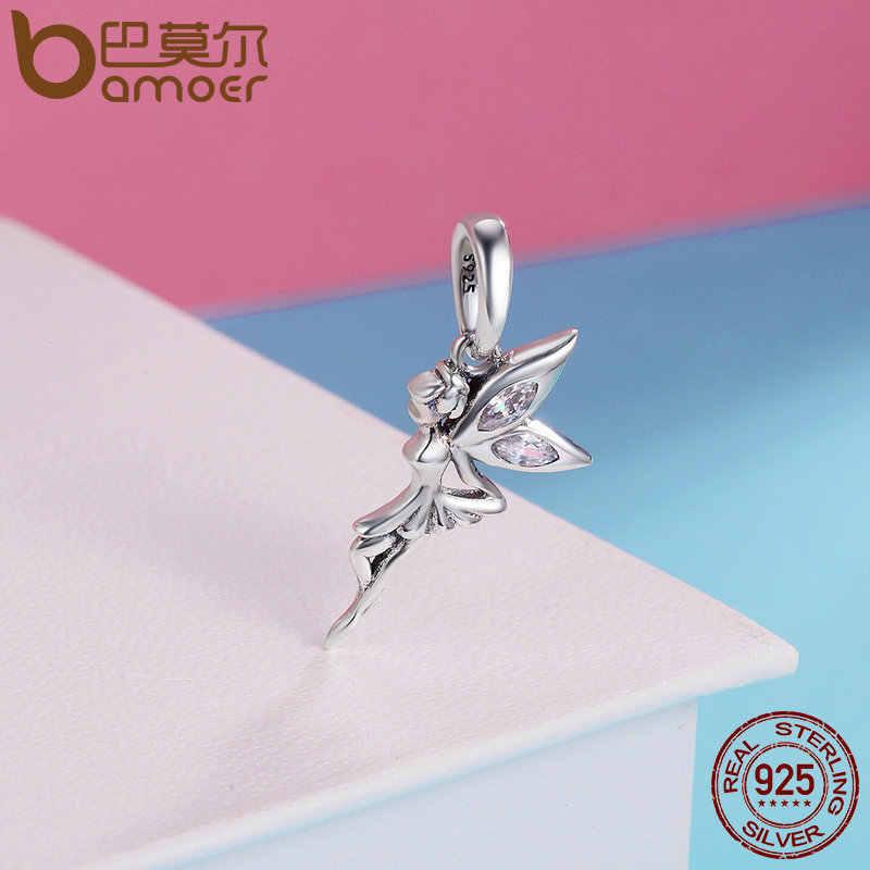 BAMOER otantik 925 ayar gümüş çiçek peri Dangle kolye uçları fit kadınlar Charm bilezikler & kolye takı SCC359