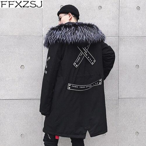 FFXZSJ2018New mode veste hiver décontracté hommes à capuche chaud manteaux Parkas hommes épais moyen-Long solide Hip Hop veste d'hiver pour homme