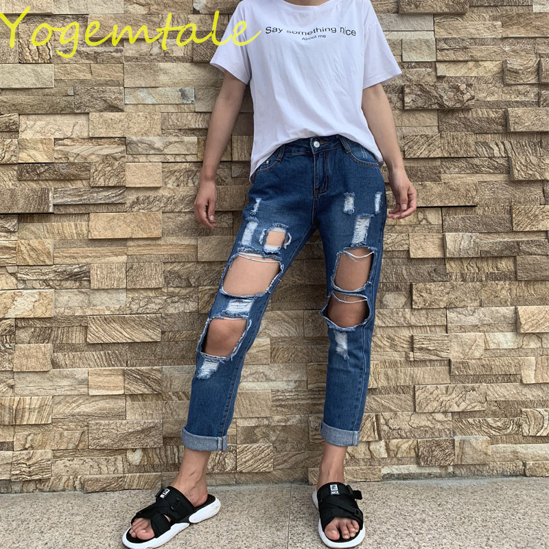 Fashion Summer Punk Denim Ripped Jeans for Women Vintage Jeans Pants Torn Trousers Jeans with Holes Light Blue Ripped Pants denim
