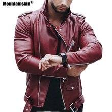 Mountainskin 5XL Для мужчин ПУ куртки осень Искусственная кожа пальто мужской мотоциклетная куртка Slim Fit Мода Для мужчин s брендовая одежда SA599
