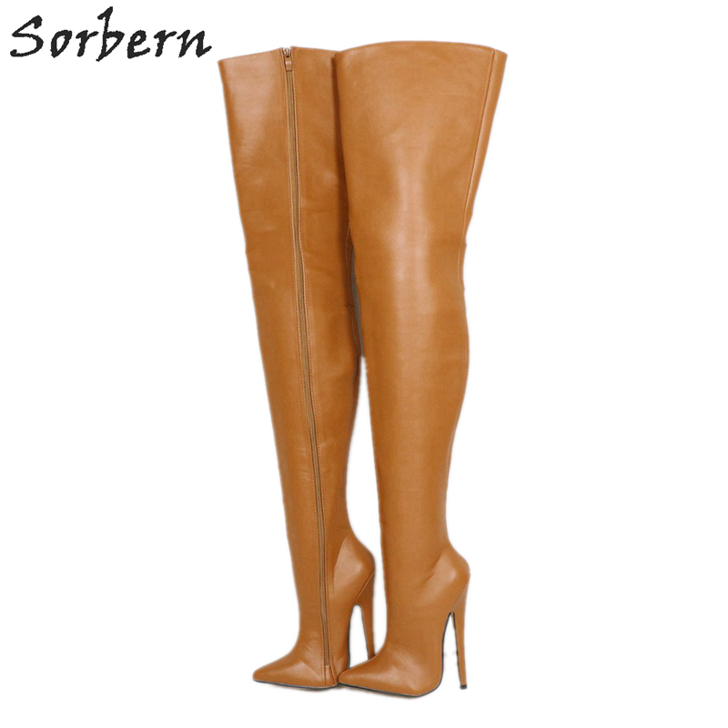 d77fc7a62f68 Sorbern Brown Matte Over The Knee Boots For Women Custom Long Wide Thigh  High Lady Boot