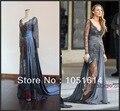 Gossip Girl Blake Lively Cinza Lace Ver Através Transparente Andar de Comprimento Real Da Amostra Vestidos de Celebridades