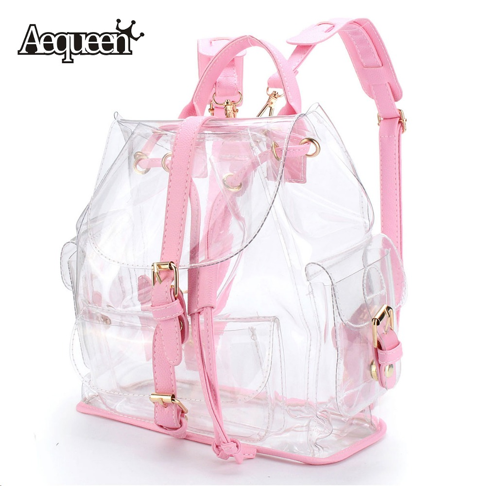 ФОТО Clear Plastic Backpacks Brand New Fashion Sweet Style Transparent Schoolbag Teenager Pack Travel Women Shoulder Bag Satchel