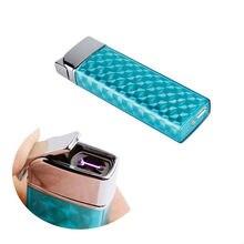 1ชิ้นUSB arcชีพจรชาร์จโลหะw indproofไฟแช็กกับกล่องของขวัญชีพจรเดียวarcโลหะบุหรี่อิเล็กทรอนิกส์เบา