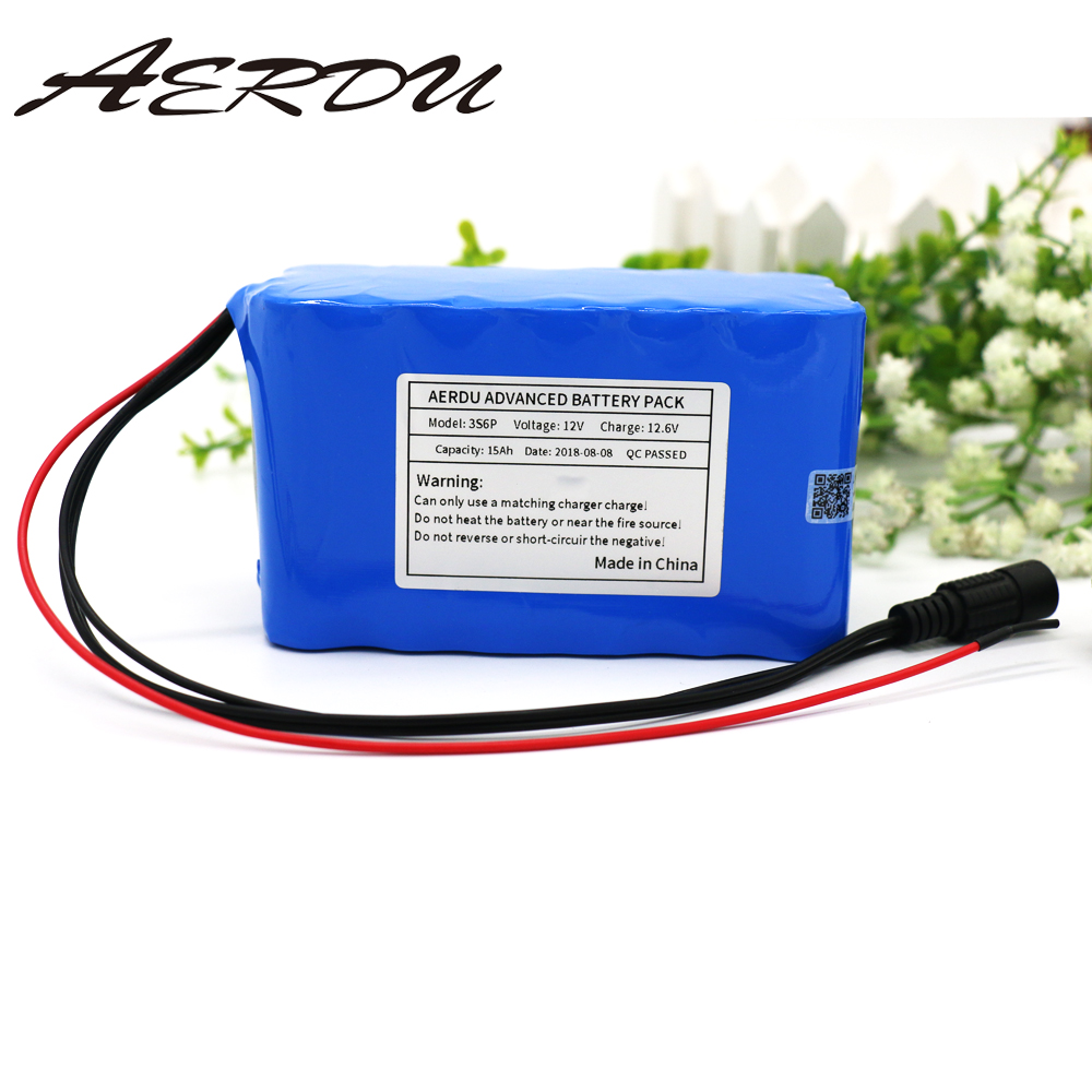 AERDU 3S6P 12V 15Ah Large capacity 11.1V 12.6V 18650 lithium Rechargeable battery pack for LED lamp light backup power with BMSAERDU 3S6P 12V 15Ah Large capacity 11.1V 12.6V 18650 lithium Rechargeable battery pack for LED lamp light backup power with BMS