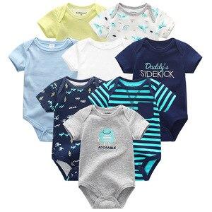 Image 1 - Одежда для маленьких мальчиков, 8 шт./компл., унисекс, комбинезоны для новорожденных девочек, roupas de bebe, хлопковые детские комбинезоны с короткими рукавами, одежда для малышей