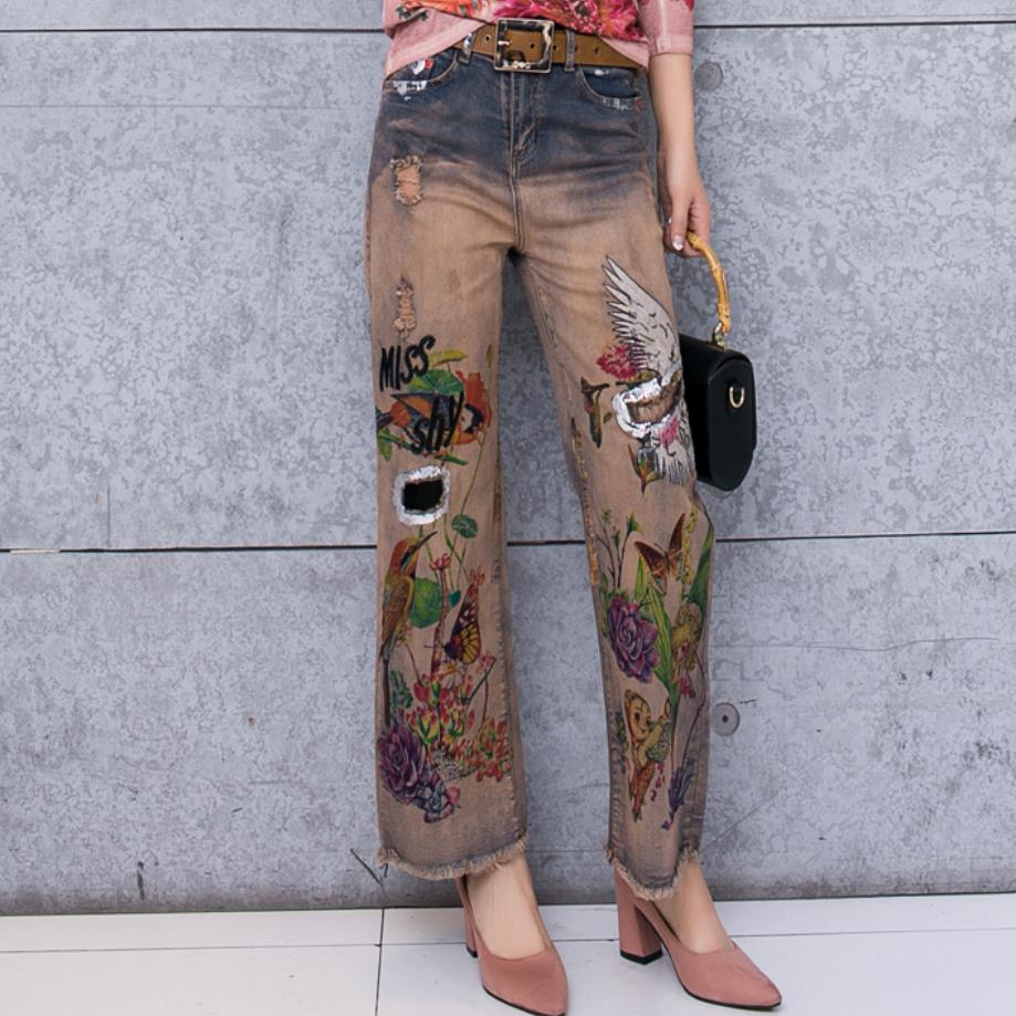 2019 spring new fashion women birds flowers printed casual high waist wide leg pants   jeans   lady beautiful   jeans   plus size 2XL