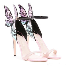 Sexy Butterfly Wings Ladies Sandals Mix Colors Thin High Heels Buckle Strap Sandale Femme 2019 Sweet Woman Party Wedding Shoes цена 2017