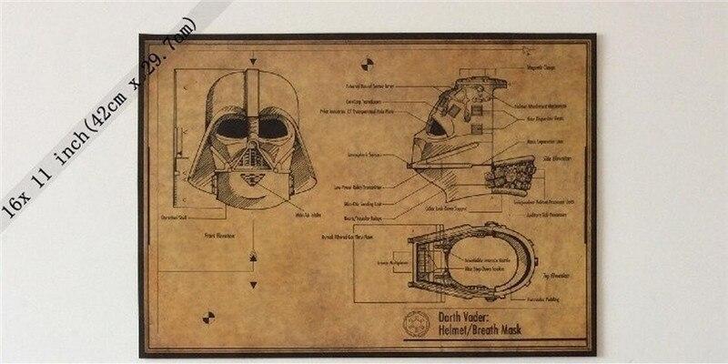 Vintage Star Wars Darth Vader Helmet Mask Design Drawing Poster