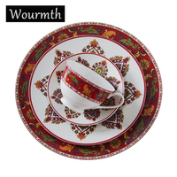 Wourmth Porcelain Dinnerware Sets British Style Porcelain Tableware Advanced Bone China Dinner Plates Ceramic Cup And