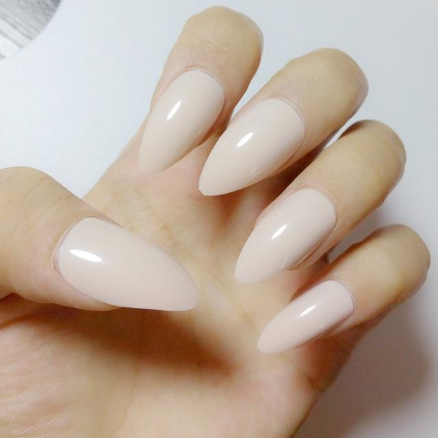 24pcs Fashion Candy Stiletto Nails Pointed False Nails Light Khaki