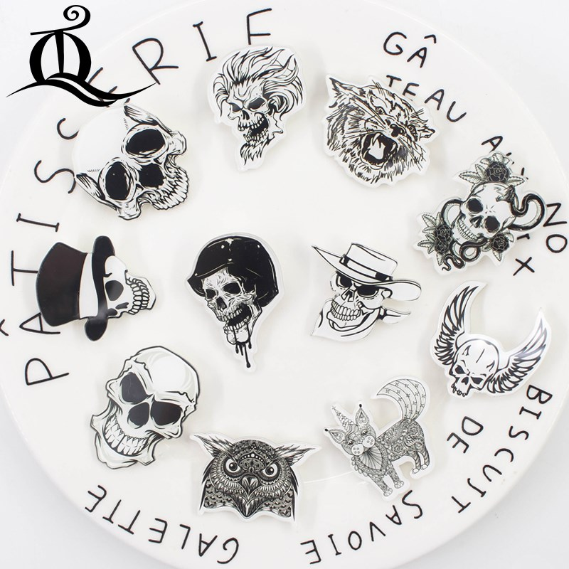 Generous Fashion Lol 1 Pcs Painting Cartoon Mix Skeleton For Clothing Acrylic Badges Kawaii Icons On The Backpack Pin Brooch Badge Z25 Apparel Sewing & Fabric
