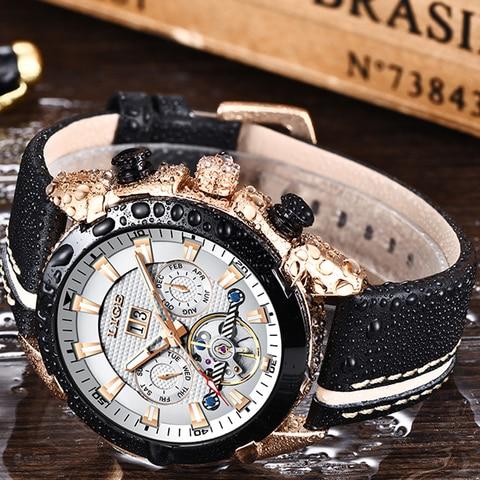 LIGE Men Watch Luxury Brand Tourbillon Automatic Mechanical Watches Waterproof Fashion Leather Business Watch Relogio Masculino Multan