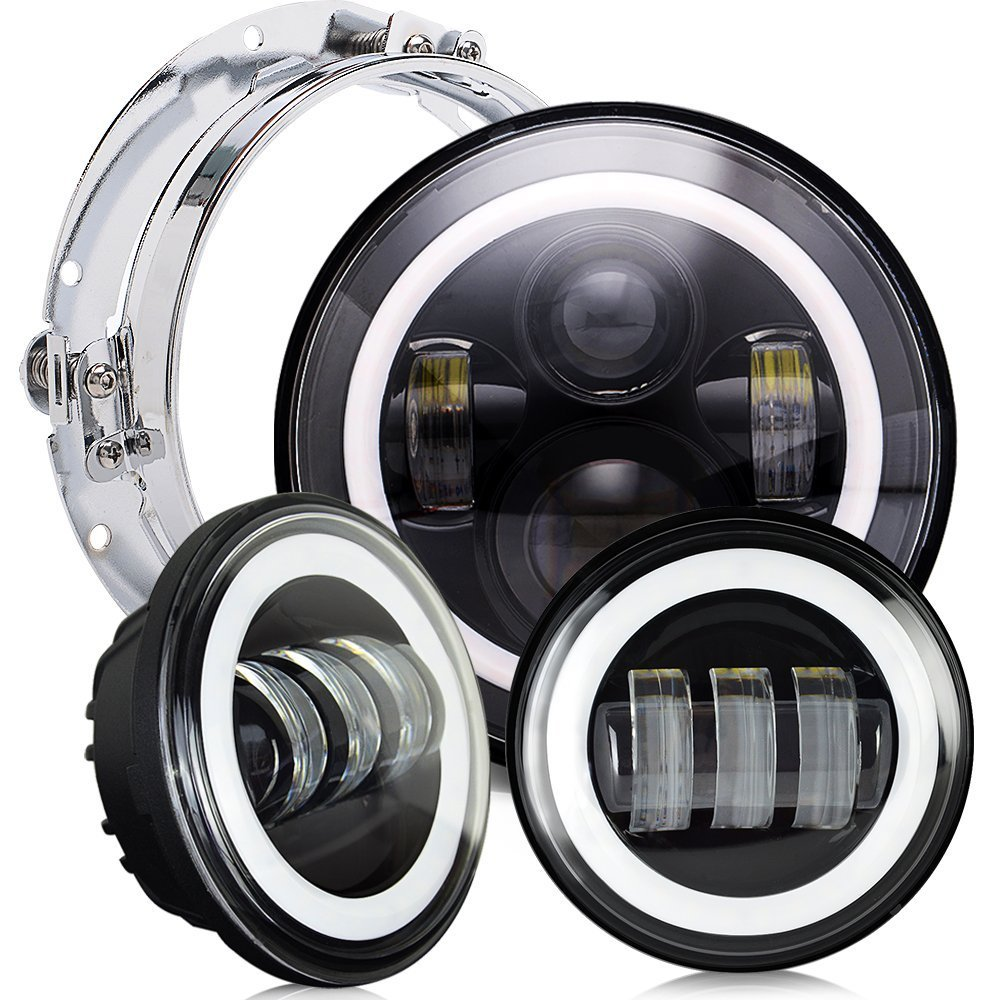 Harley Daymaker Motos 7 LED Headlight with 4.5  Led Fog Light for Harley Davidson Motorcycle with 7 Bracket Adapter Ring