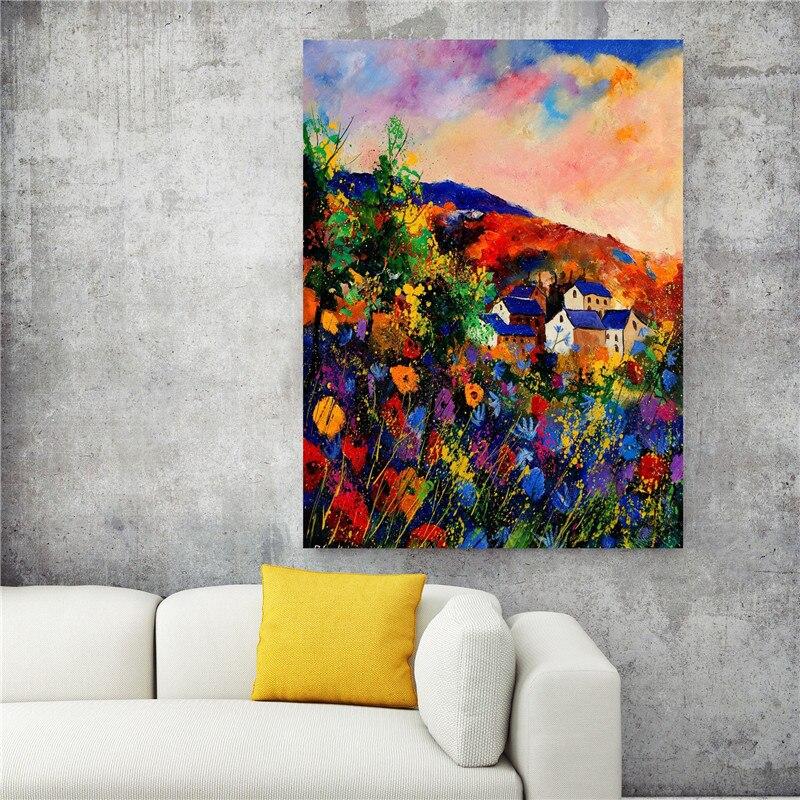 Frameless Canvas Art Oil Painting Flower Painting Design: Flower Village High Quality Poster Frameless Prints Oil