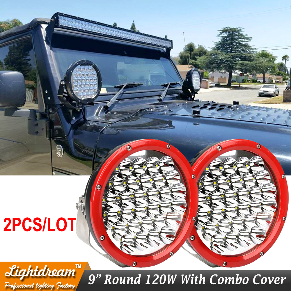 Black Red Light 150W 9 inch Led Driving Light Combo Beam 12V/24V ATV Trucks SUV 4WD 4X4 Offroad Led Headlight Fog Lamp x2pcs eyourlife 23 25 inch 120w fog lamp spot wide flood beam combo work driving led light bar for offroad suv atv 12v 24v 99