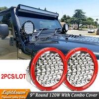 Black Red Light 150W 9 inch Led Driving Light Combo Beam 12V/24V ATV Trucks SUV 4WD 4X4 Offroad Led Headlight Fog Lamp x2pcs