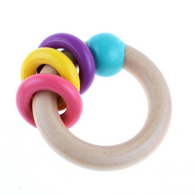 Baby Verpleging Armbanden Houten Bijtring Haak Chew Kralen Tandjes Hout Rammelaars Speelgoed Bijtring Montessori Armbanden