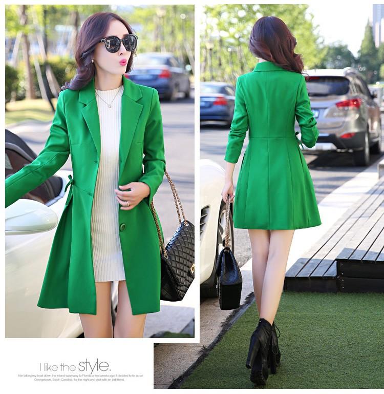Super Pretty  Elegant Trench Coat Women Windbreaker Ladies Peplum Jacket Pink Grey Green Manteau Femme Silm Long Blazers d