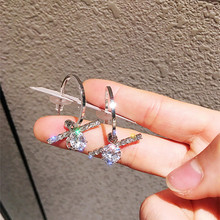 TTLIFE Korean Style Luxury Gold Silver Color Round Hoop Earrings Shining Crystal Cross  Earring Women Party Jewelry Gift