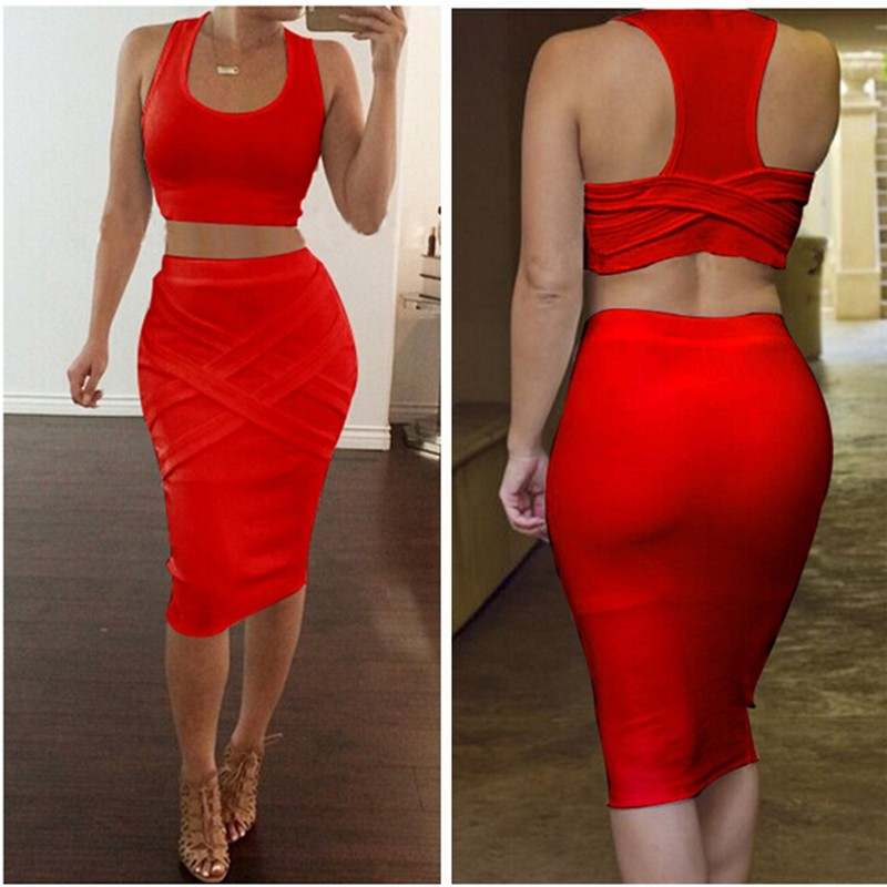 2016 Fashion Women Summer Sets 2 Pieces Club Dress Set Female O Neck Crop Tops & Skirt New Sexy Strapless Women\'s Clothes Suit (21)