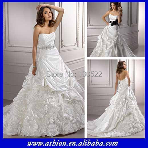 Free Shipping We 0847 Strapless Italian Wedding Dress With Black