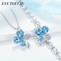 EYE TOUCH Crystals From Swarovski Blue Rhinestone Jewelry Elegant Women Necklace Bracelet Set Fashion Valentine S