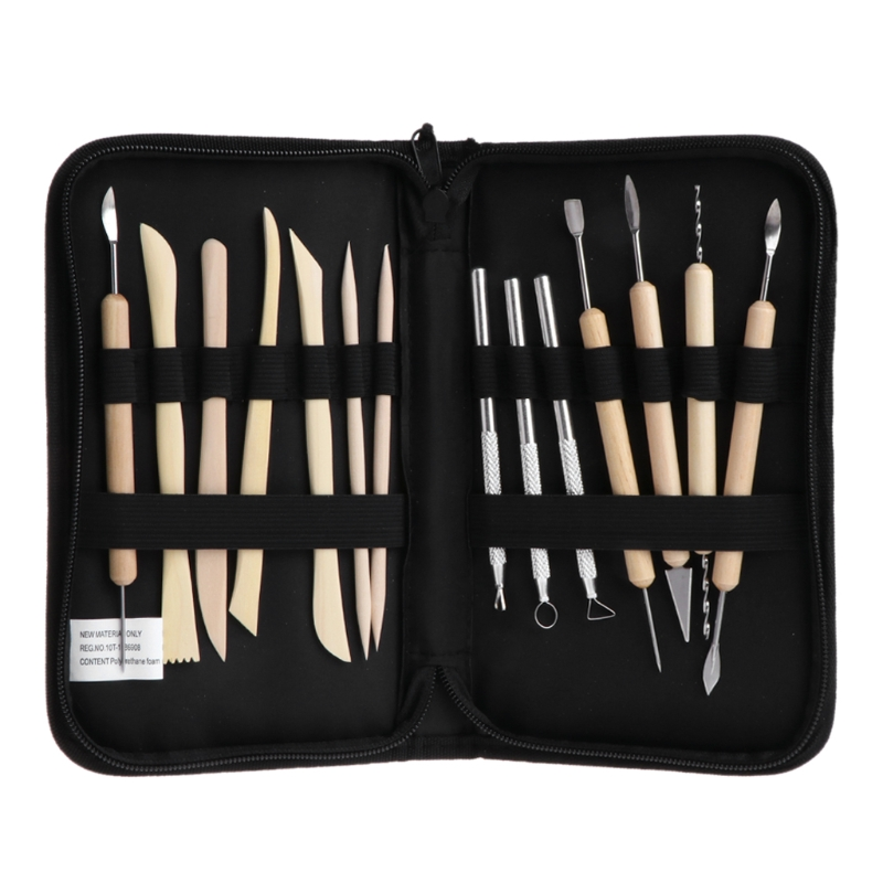 14Pcs Clay Sculpting Carving Pottery Tool Set Polymer Ceramic Modeling Kit With Case Molding Sculpture Sculpting Clay Tool Kit 7 inch black round plastic rotary plate turnplate clay pottery sculpture tool