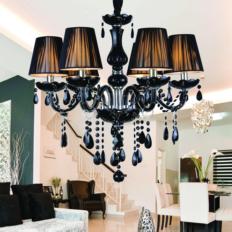Modern Black Crystal Chandelier Lampshades Antique Brass Chandeliers Res De Sala Moderno Dining Room Chandlier Lights In From
