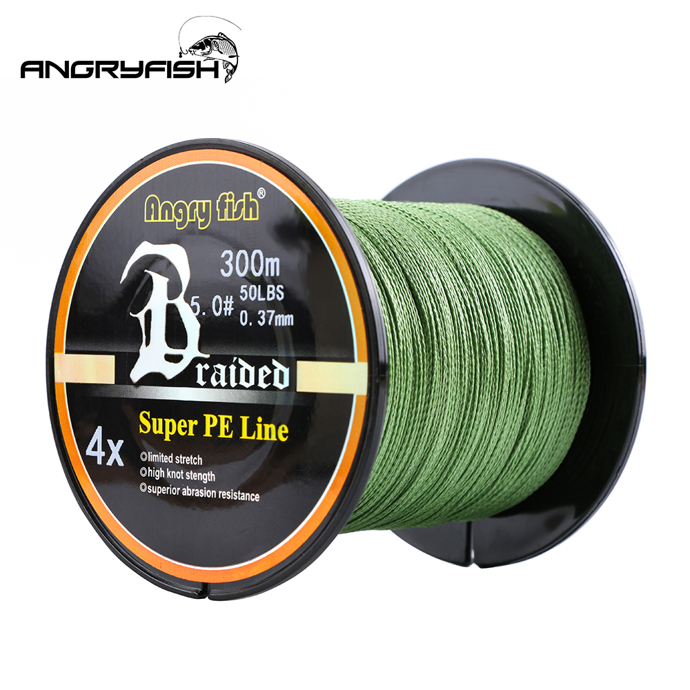 ANGRYFISH Wholesale 300 Meters 4 Strands Braided Fishing Line 8 Colors Super Strong PE Fish Line