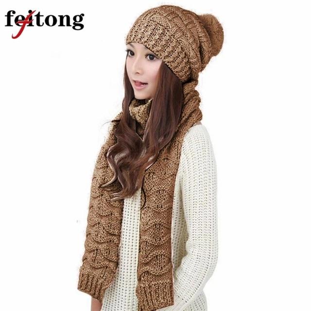 Feitong 1 Unidades las mujeres bufanda y sombrero conjunto de moda cálida lana  de punto capucha 2de63acb6fc