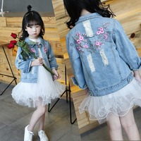Embroidered Flowers Hole Little Big Girls Denim Jacket Size 6 12 Gir Outerwear Spring Autumn 2017