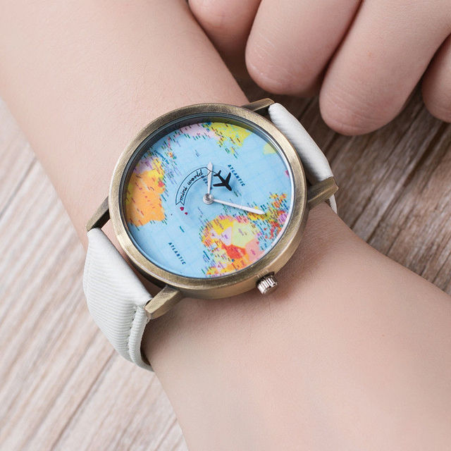New fashion world map watch by plane watches denim fabric watch new fashion world map watch by plane watches denim fabric watch quartz watch women men gumiabroncs Images