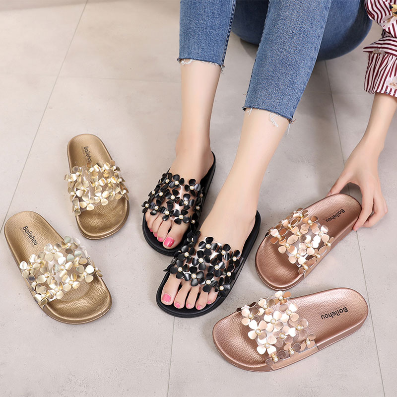 Bailehou Women Slippers Beach Flip Flops Ladies Woman Shoes Gold Flower Women Slippers Lady Female Fashion Flat Shoes Slides NEW new lovely cat jelly shoes women s fashion fish mouth sandals women flat shoes lady beach shoes female slippers free shipping
