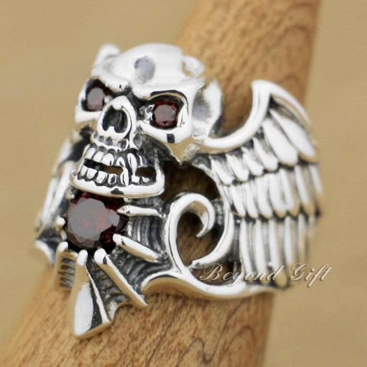 925 Sterling Silver Devil Wing Skull Red CZ Stone Mens Biker Ring 9M013 US 8~13 devil skull alloy biker ring