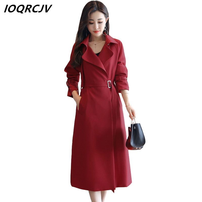 2018 Autumn Women   Trench   Coat Pocket Long Sleeve Casual Loose Outerwear Turn-down Collar Overwear Fashion Long Windbreaker S58
