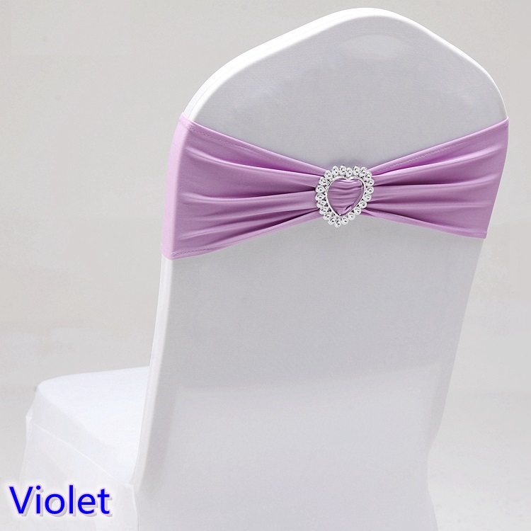 New Metallic Stretch Wedding Chair Sashes Crystal Band Party Banquet Decor Bows