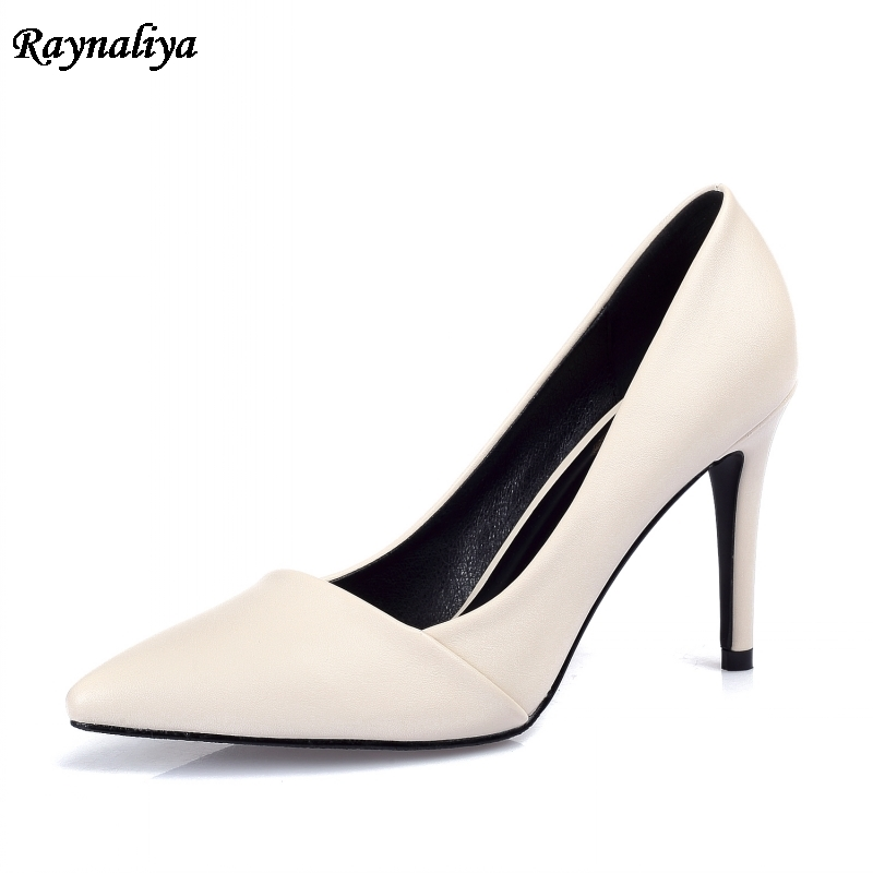 Women Sexy Fashion Spring Shoes New Candy Color 7cm Thin High Heels Pumps Ladies Pointed Toe Soft Leather Shoes XZL-B0013 baoyafang new arrival ladies shoes fashion pointed toe high heels pumps women office shoes 7cm heel sexy girls wedding shoes