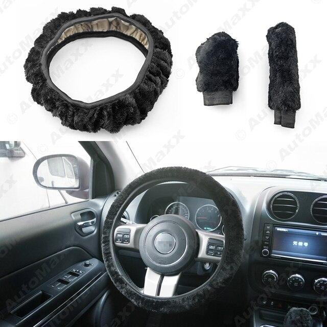 Black Car 3pcs Set Winter Soft Plush Gear Shift Cover Hand Brake Grips Cover Steering Wheel Cover #J-4717