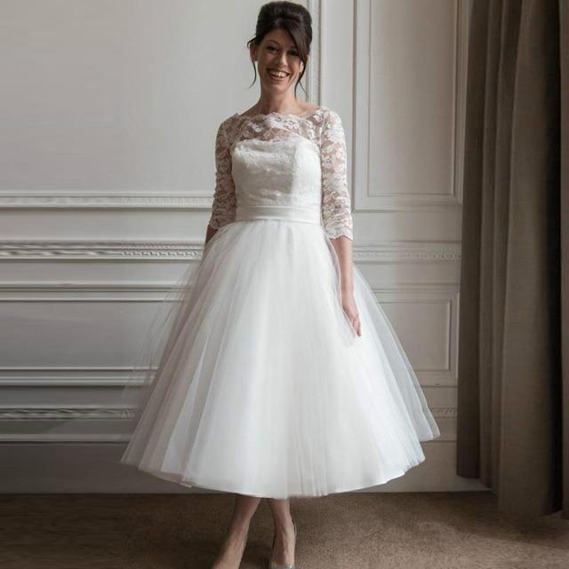 White Lace Short Cheap Half sleeve Wedding Dresses Scoop neckline ...