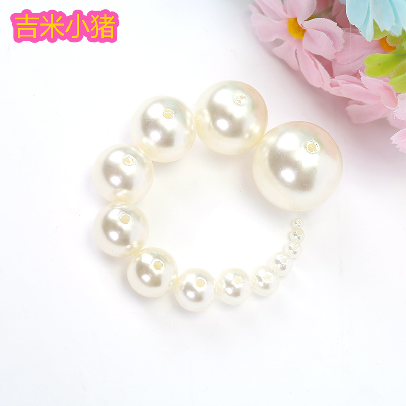 ABS Imitation Pearl Diy Beads Toys For Children Girls Gift White Straight Hole DIY Bead Accessories Beaded Toy Factory Wholesale